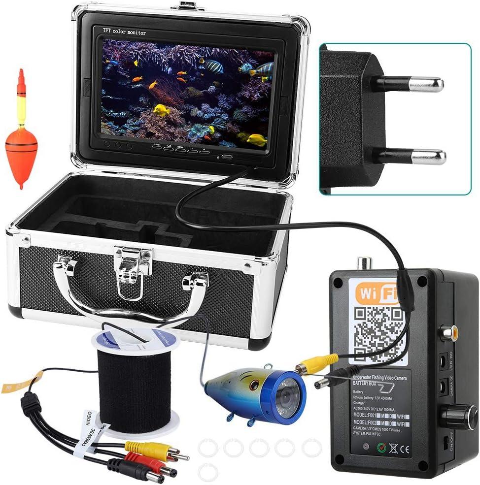 Garsent Buscador de Peces bajo el Agua Cámara de Video 1000 TVL Monitor 2.4G WiFi Inalámbrico 50M Cable Buscador de Peces bajo el Agua con batería Recargable 4500AH Funciona 8 Horas(EU)