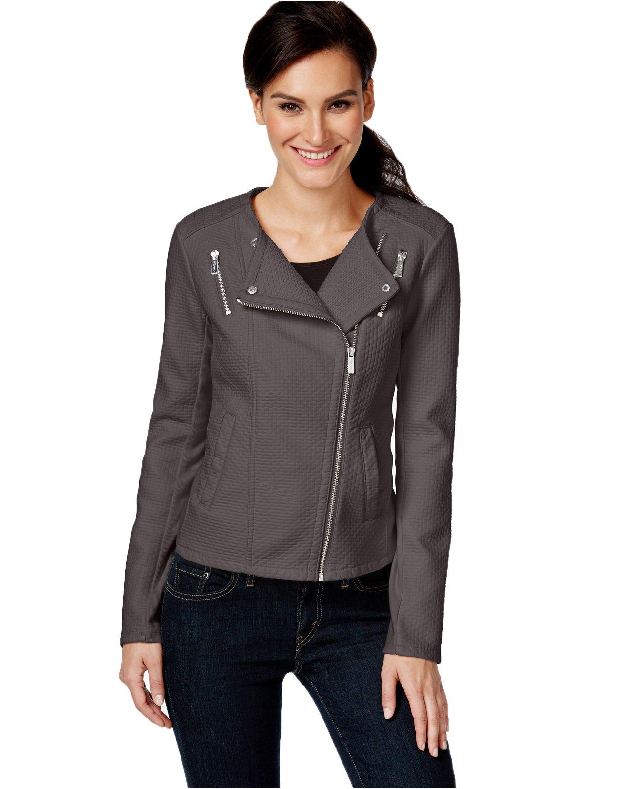 Calvin Klein Women's Faux-Leather Textured Moto Jacket (Medium, Charcoal)