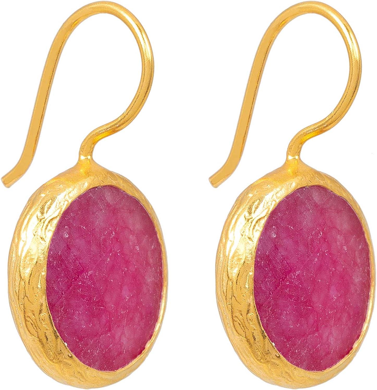 Pendientes de mujer Sarh Bosman de plata chapada en oro rosa jade – redondos pendientes de plata chapados en oro con piedras preciosas rosas – 16 mm de diámetro – SAB-E01PINJADg