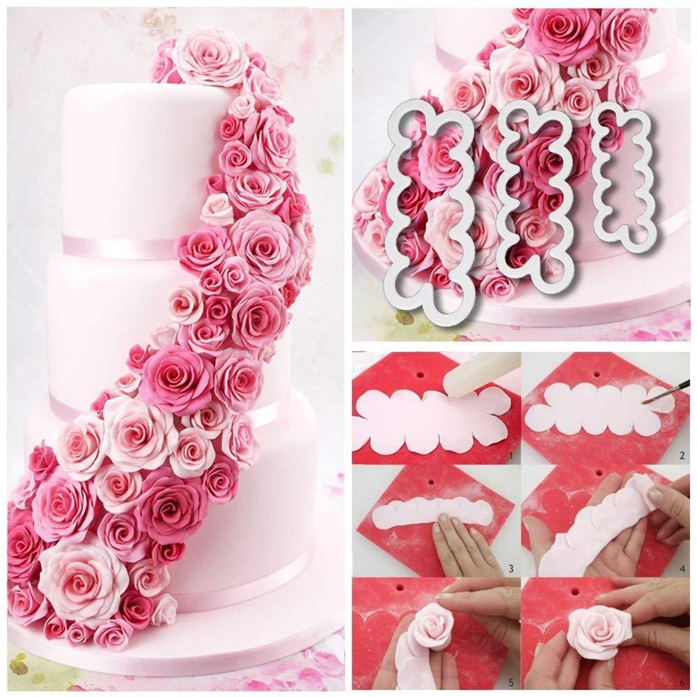 stampi da pasticceria per lavorare la pasta di zucchero utensili da cucina per decorazione di dolci ideali per pasta di zucchero /Set di 3/tagliapasta per petali di rosa il fondente Caolator/