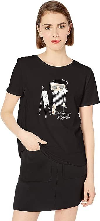 Karl Lagerfeld Paris Women's Short Sleeve T-Shirt, Black deep