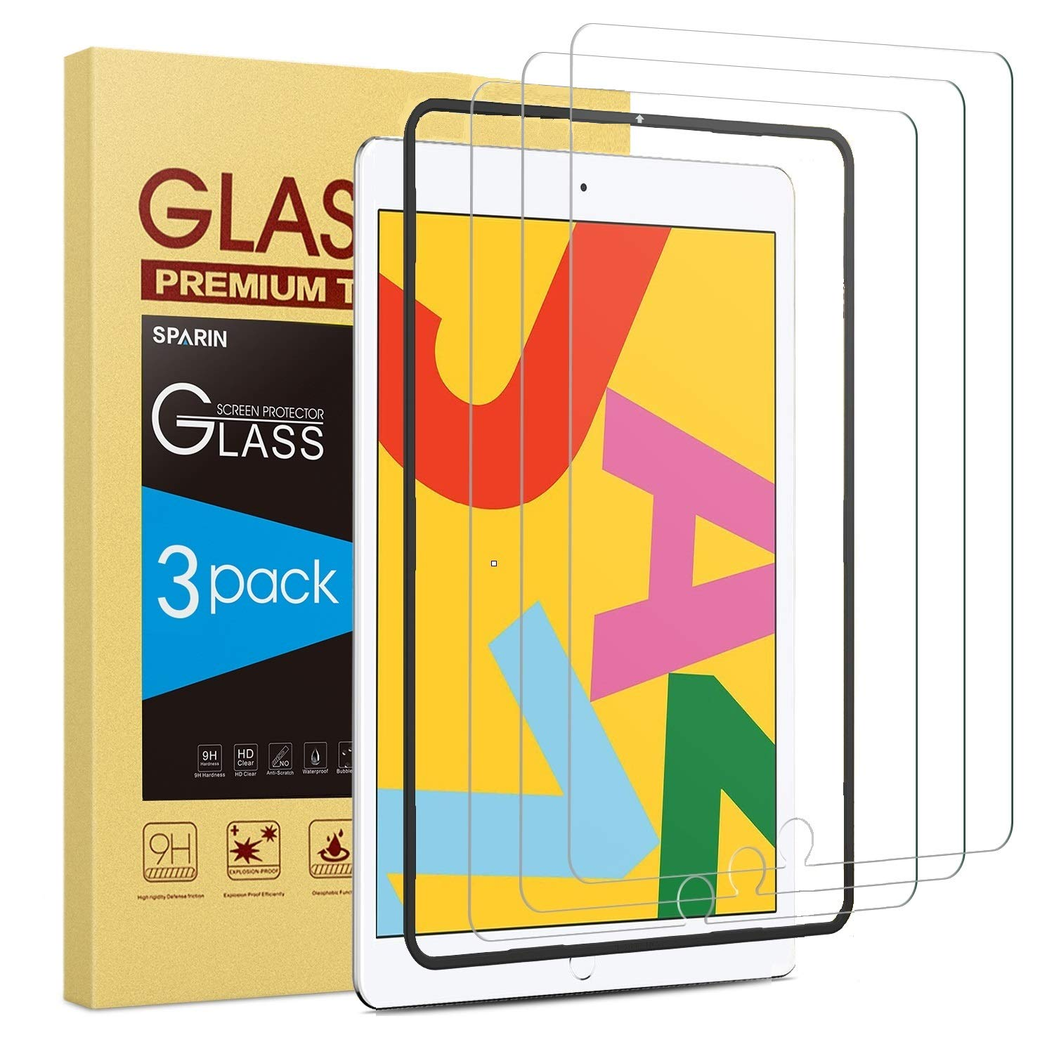 [3 Pack] Screen Protector for iPad 10.2 (2019), SPARIN Tempered Glass for iPad 10.2 (7th Gen) 2019 Released [High Sensitivity] [Easy Installation] [Bubble Free]