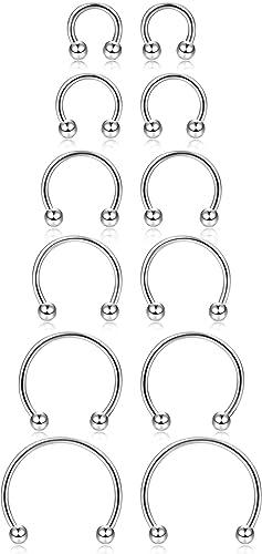 Amazon Com Orazio 6 Pairs 16g Stainless Steel Nose Rings