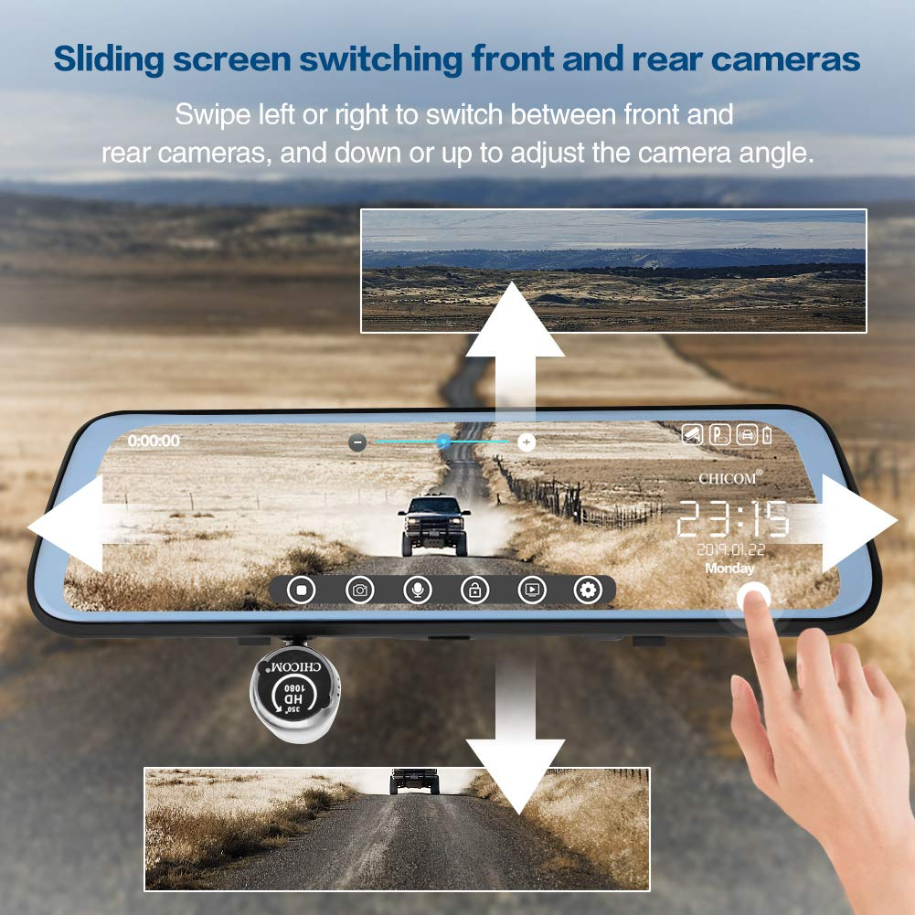CHICOM V21 9.66 inch Mirror Dash Cam Touch Full Screen ; 1080P 170/° Full HD Front Camera;1080P 140/°Wide Angle Full HD Rear View Camera;Time-Lapse Photography