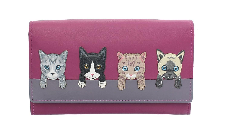 Mala Leather Colección Best Friends Monedero de Cuero de Gatos en una Pared 3417_65 Rosa: Amazon.es: Equipaje