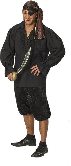 Desconocido Camisa negra de pirata para hombre: Amazon.es: Juguetes y juegos