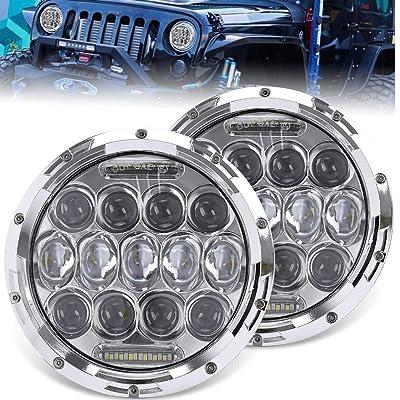 UNI-SHINE 7 inch LED Headlight Round Amber White Angel Eyes DOT E-MARK Approved 6000K 3500K Hi/lo Beam and DRL lamp,J005Z-W-pair: Automotive
