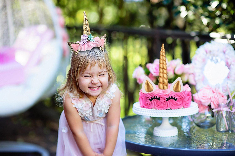 Romote Unicorn Cake Decorations,Cake Toppers Ears and Eyelashes Unicorn Party Baby Shower Wedding Headband For Girl(Gold)