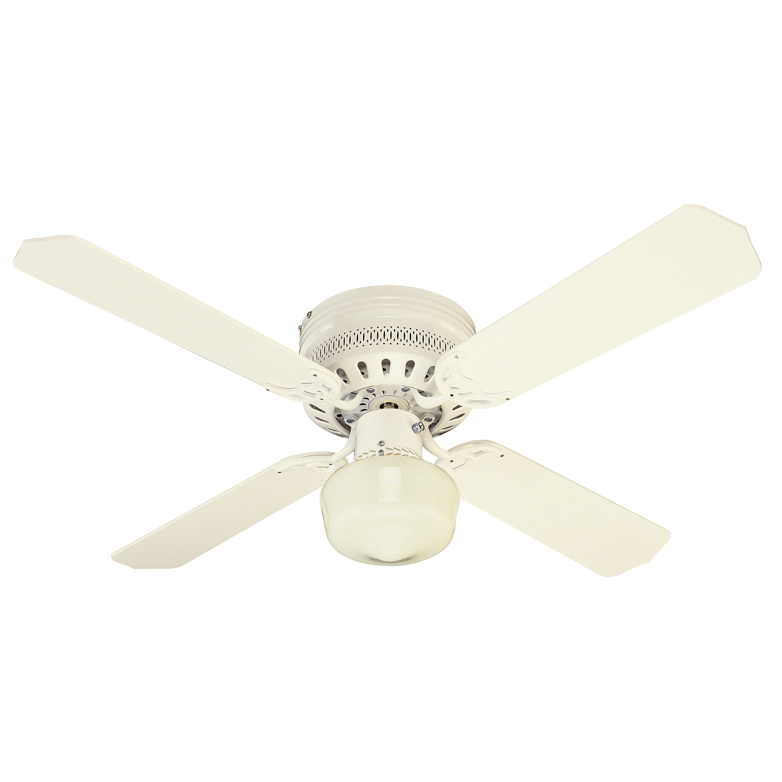 Westinghouse 7812600 Traditional Casanova Supreme 1-Light 4-Blade Indoor Ceiling Fan with Opal Schoolhouse Glass, 42'', White