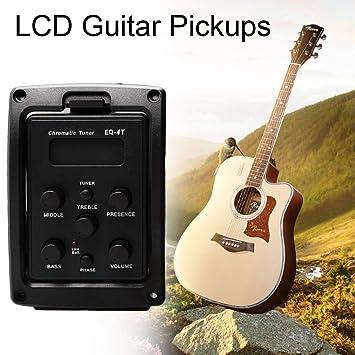 Lorenlli Preamplificador de ecualización EQ-4T de 4 bandas con afinador para guitarra acústica con sintonizador LCD y control de volumen Preamplificador de ...