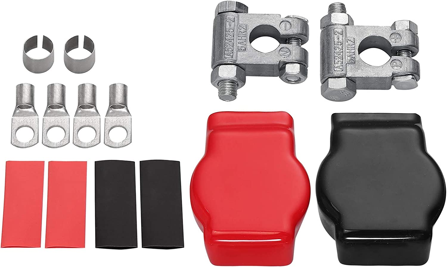 AUTOUTLET Positive and Negative Battery Terminals Military Spec Battery Terminal Top Post Kit with a pair of Adjustable Shims for Car Marine Boat Rv Vehicles