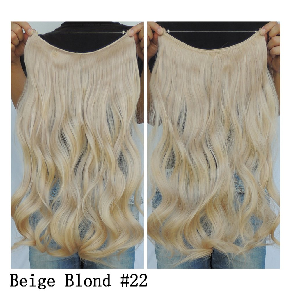 Secret Halo Hair Extensions Flip in Curly Wavy Hair Extension Synthetic Women Hairpieces 20 (Dark Blonde #27/613) Silk Language Wig Factory YSJ10060
