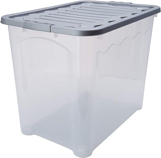House & Style Vulcano Caja de almacenamiento XXL, Silver, 60 x 40 ...