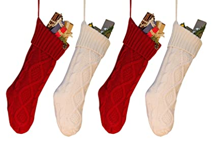goege bailey 18 pack 4 unique burgundy and ivory white knit christmas stockings - White Knit Christmas Stockings