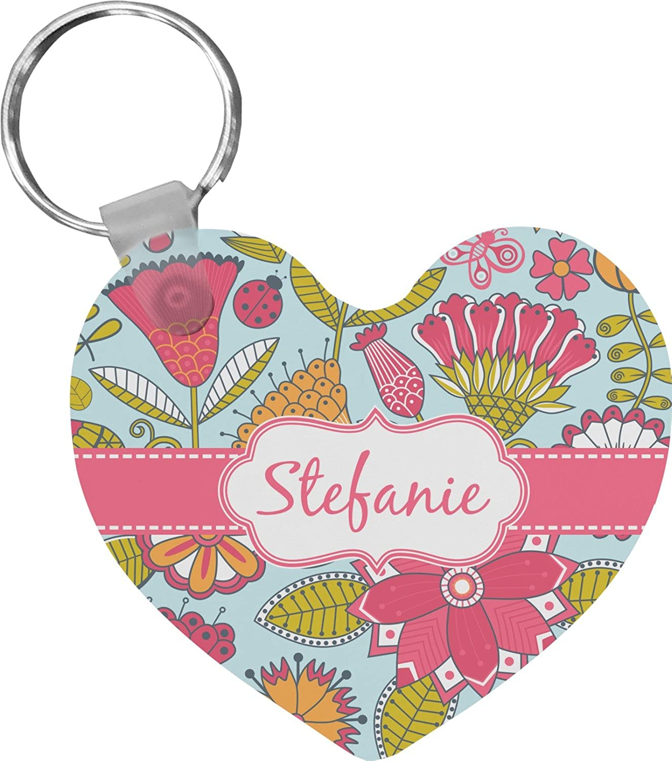 Wild Flowers Heart Keychain (Personalized)