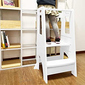 ZZBIQS Kids Kitchen Helper Step Stool, Height Adjustable Standing Platform Children Standing Tower, Wooden Toddlers Learning Helper Tower with Safety handRail for Kitchen Counter (White)