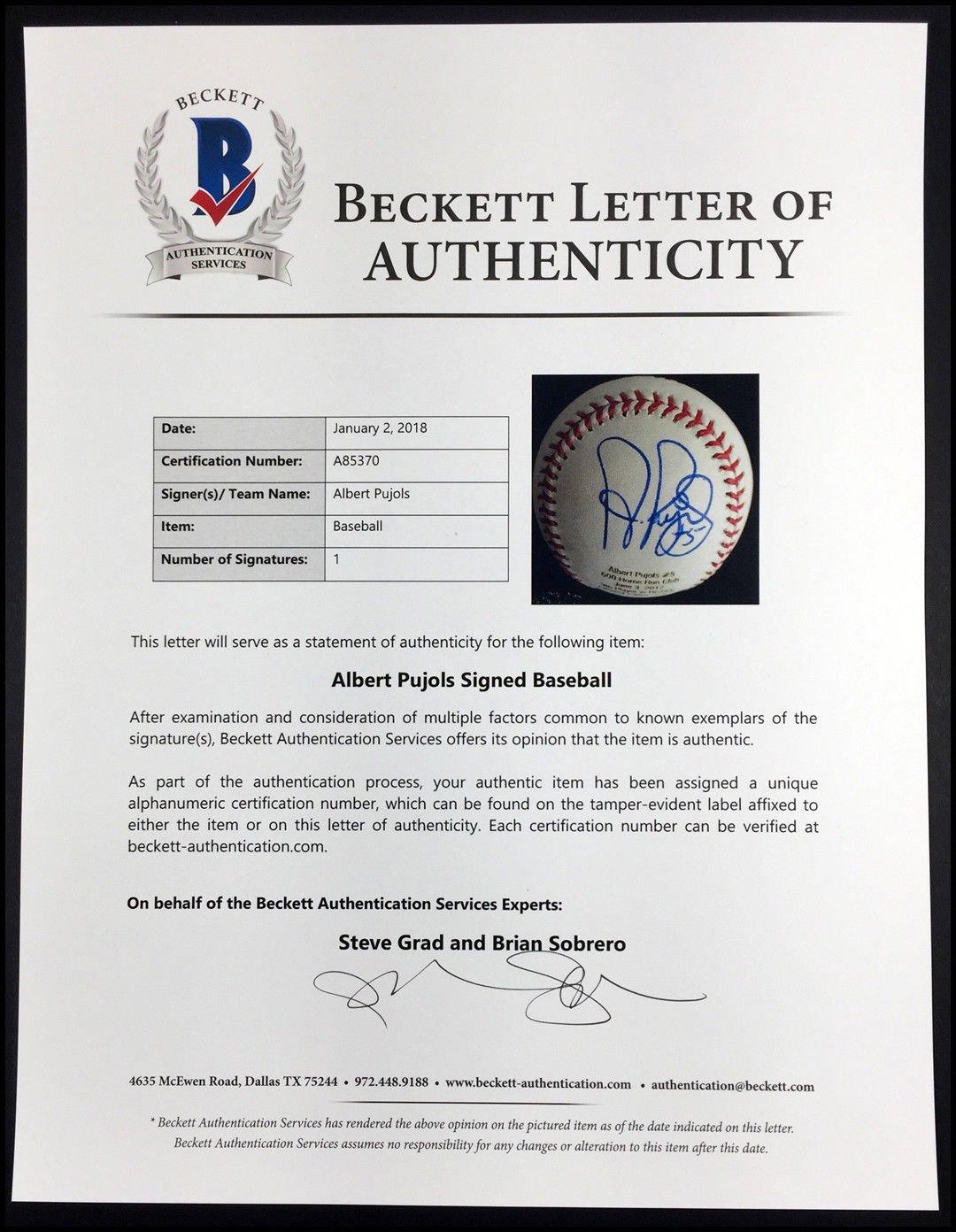 Autographed Albert Pujols Signed 600 Home Run Club Baseball Ball