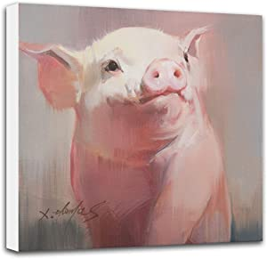Baby Farm Animal Nursery Decor, 12x12 inch 'Pig #1' Original Painting Canvas Print, Wall Art for Kids Room Bedroom - Gallery Wrapped Stretched