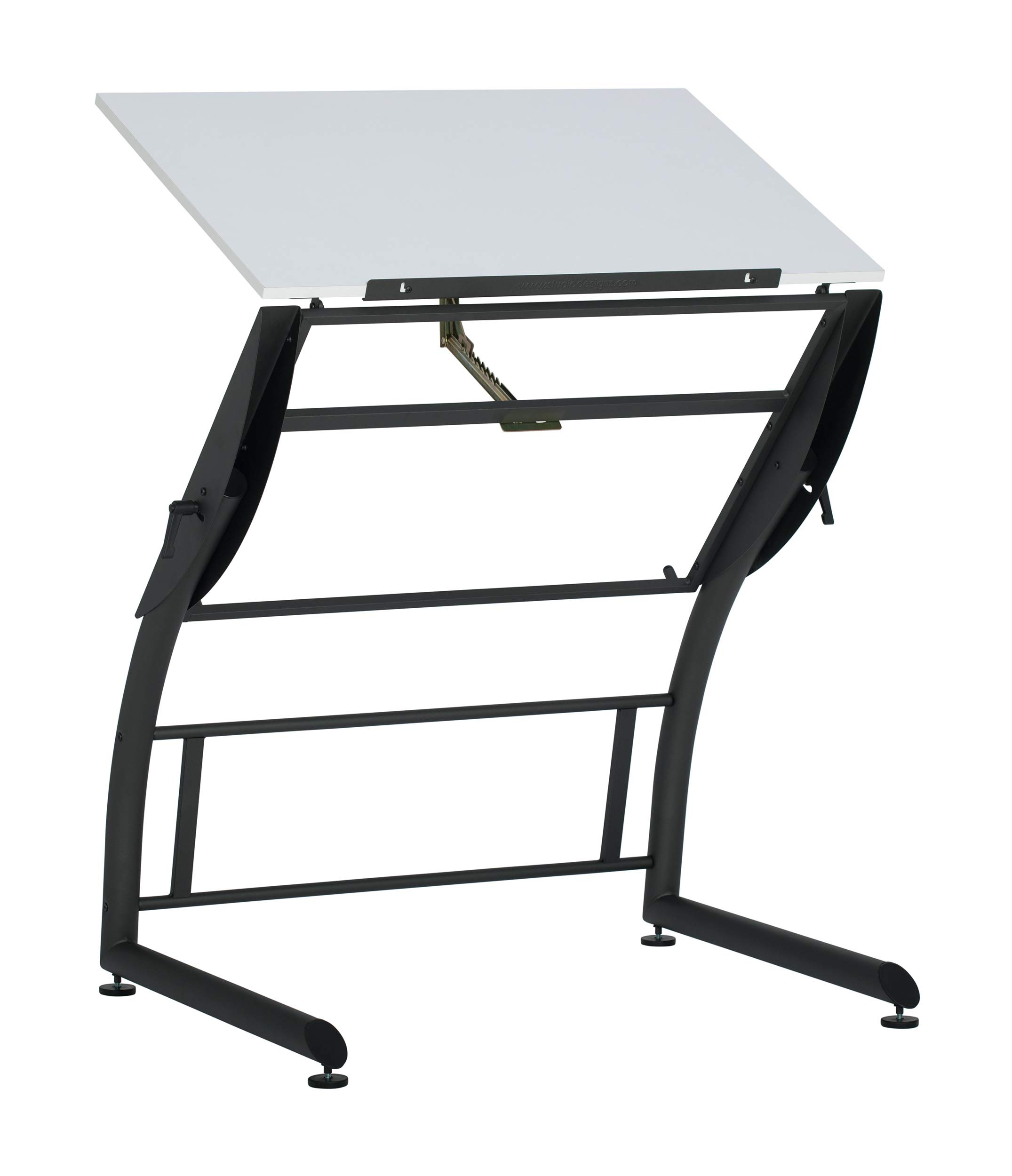 SD STUDIO DESIGNS Triflex Drawing Table, Sit to Stand Up Adjustable Office Home Computer Desk, 35.25''W X 23.5''D, Charcoal Black/White by SD STUDIO DESIGNS