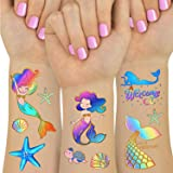 Mermaid Party Supplies Temporary Tattoos for Kids - Glitter Mermaid Birthday Party Favors, Mermaid Tail Decorations - 6…