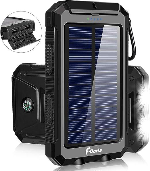 F.DORLA Cargador Solar 20000mAh Banco de Alimentación, Cargador Portátil Solar Cargador de Teléfono con 2 Puerto USB 2 LED Luz Externa Batería Pack para Emergencia Viaje Camping, iPhone Android Celular Carga: Amazon.es:
