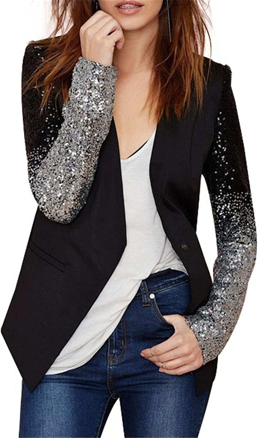David Salc slim women Pu patchwork Black silver sequins Jackets Full sleeve winter coat for wholesale blackS