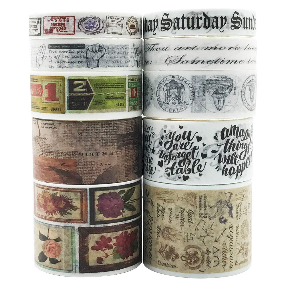 Vintage Washi Tapes Set EnYan 10 Rolls Japanese Masking Decorative Tapes for DIY Crafts and Arts Bullet Journal Planners Scrapbooking Adhesive