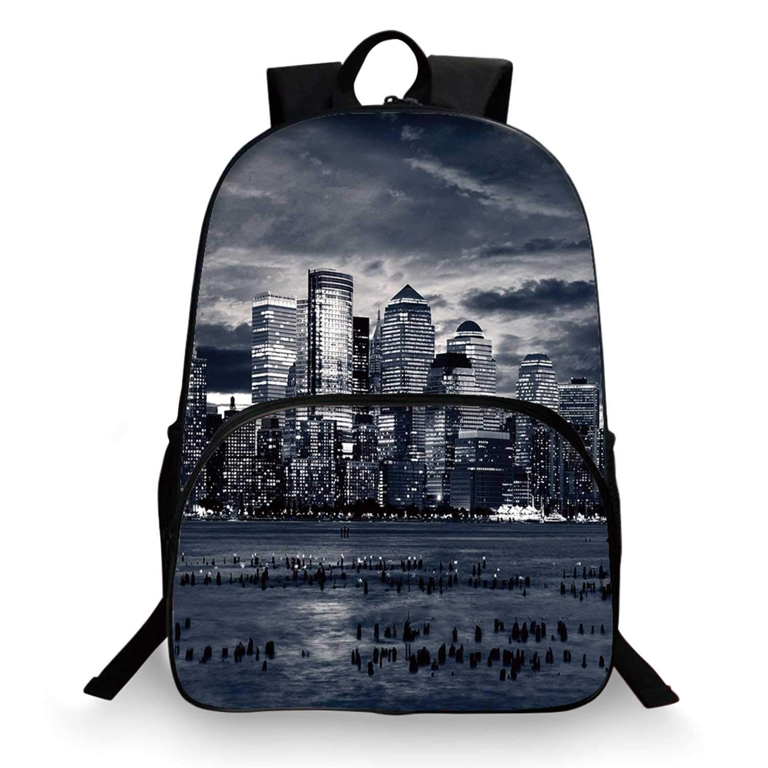 City Various Schoolbag,Dramatic View of New York Skyline from Jersey Side Clouds Buildings for student,11''Lx6''Wx15''H by C COABALLA