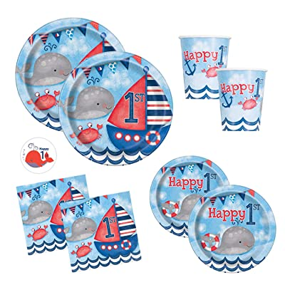 Nautical First Birthday Party Supplies Set Featuring Whales And Sailboats