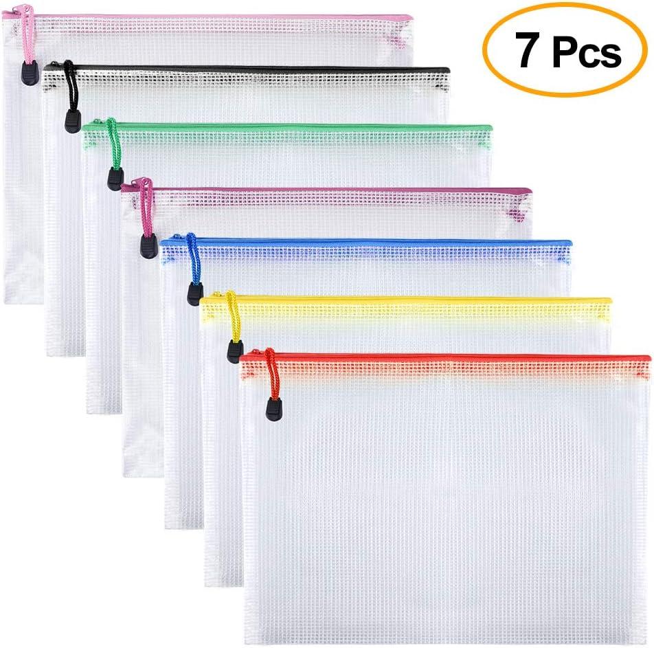 TUPARKA 7 piezas Bolsas de archivo con cremallera Bolsas de documentos de malla A5 para cosméticos Accesorios de suministros de oficina