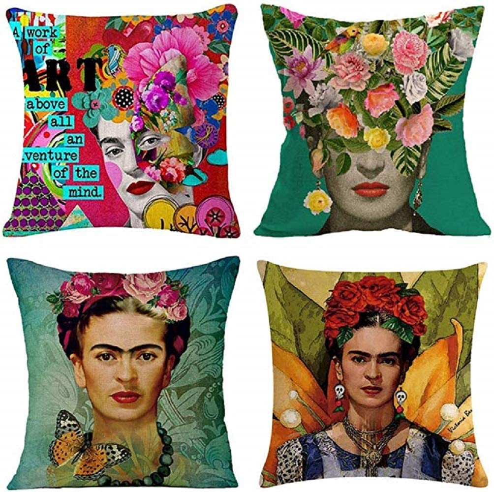 """gircat 4 pcs Oil Painting Frida Kahlo Self-Portrait Cotton Linen Throw Pillow Case Car,Cushion Couch,Sofa,Bed Cover 18""""x18"""",Pattern 1 (12)"""