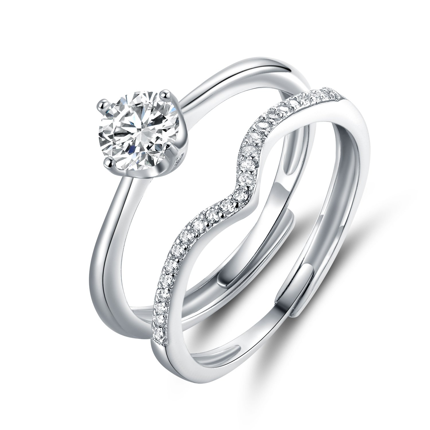 JiangXin Adjustable Size 925 Sterling Silver Ring Set for Women Solitaire Ring and Curved Ring Wrap