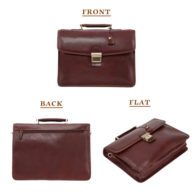 Banuce Vintage Full Grain Leather Briefcase for Men with Lock 14'' Laptop Tote Business Messenger Bag by Banuce (Image #2)