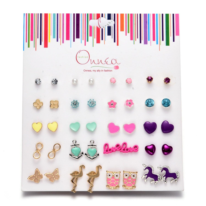 Oaonnea 20 Pack New Enamel Stud Earrings Set for Teen Girls Heart Unicorn Women Gold Earrings