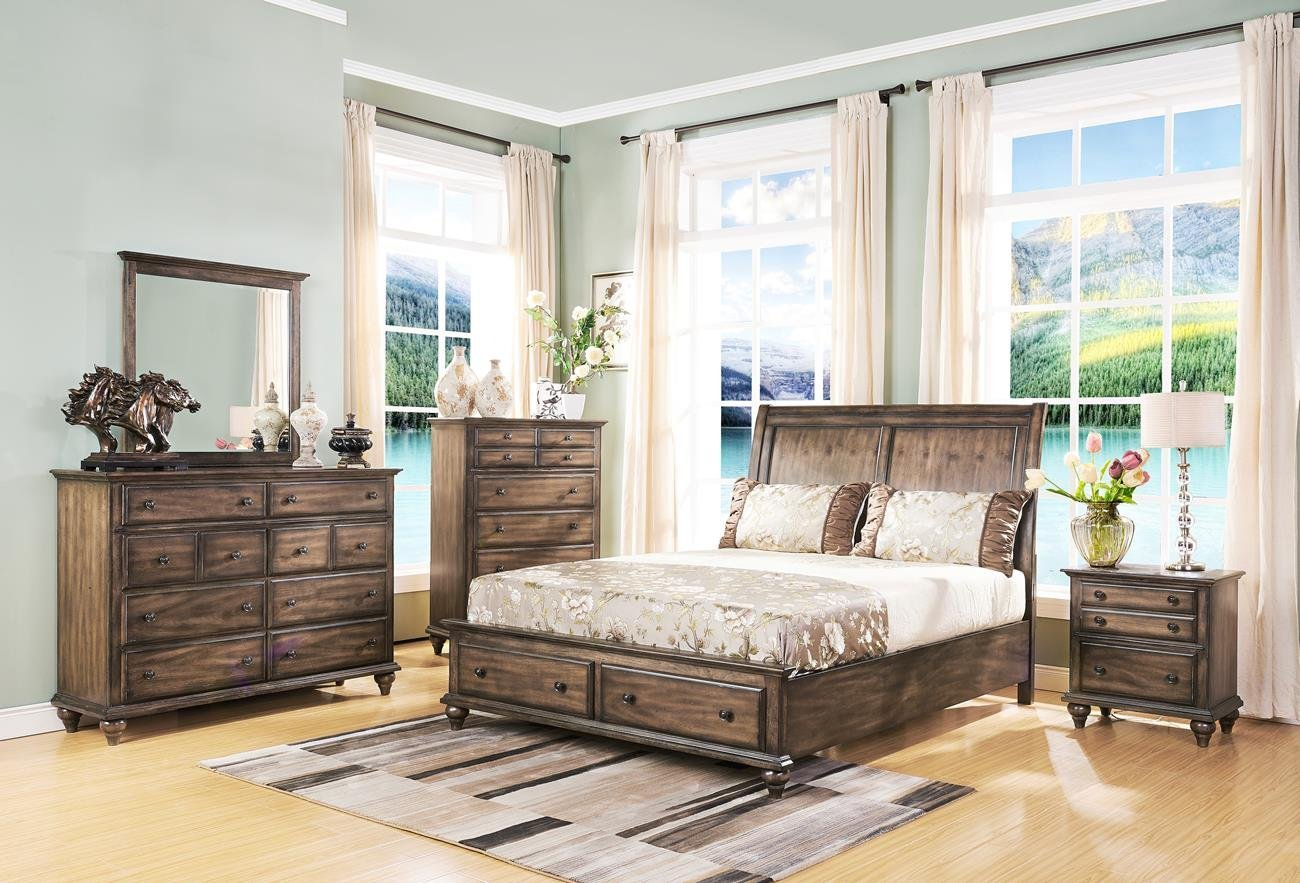 Amazon com fortuna rustic 5 piece cal king bedroom set with chest in weathered brown finish kitchen dining