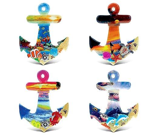 Cota mundial Colorful Tropical Anchors - 3d diseños - imán de verano ...