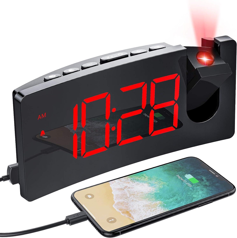 MPOW - Reloj Despertador con Pantalla Curva LED de 5 Pulgadas, con Puerto de Carga USB, 4 Niveles de luminosidad, Reloj Despertador Digital Giratorio a 120°, fácil operación de repetición, 12/24H