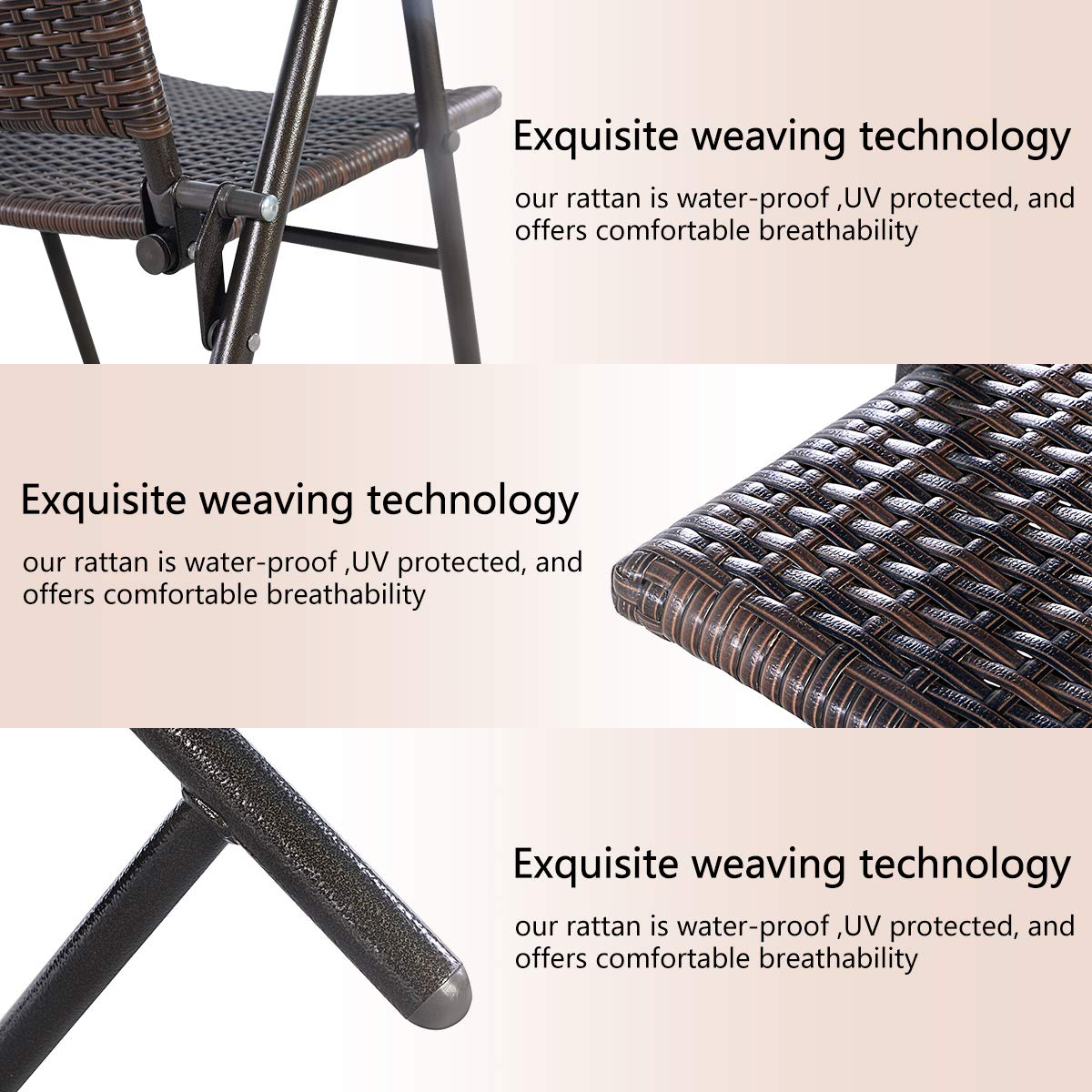 Tangkula 4 PCS Folding Patio Chair Set Outdoor Pool Lawn Portable Wicker Chair with Armrest & Footrest Durable Rattan Steel Frame Commercial Foldable Stackable Party Wedding Chair Set (24X23X37) by Tangkula (Image #8)