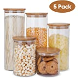 Glass Food Storage Containers Set,Airtight Food Jars with Bamboo Wooden Lids - Set of 5 Kitchen Canisters For Sugar…