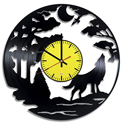 Wolf Design Vinyl Record Wall Clock - Get unique living room wall decor - Gift ideas