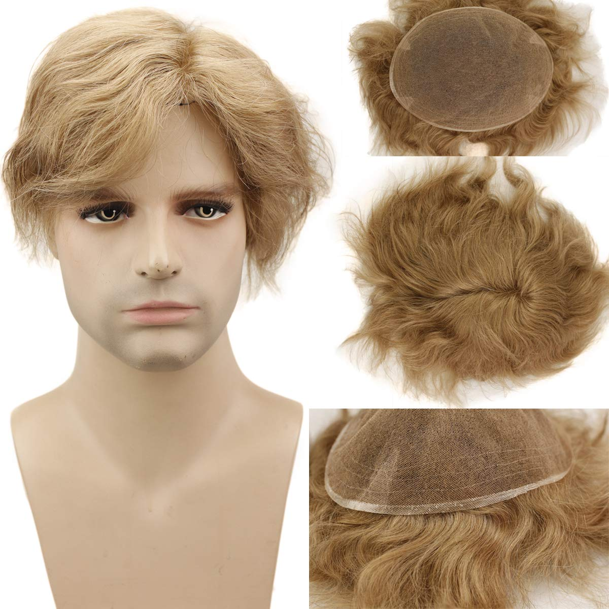 """Dreambeauty Full Swiss Lace Base Toupee for Men European Virgin Human Hair Replacement System for Men 10x8"""" Human Hairpieces Soft Thin Super Skin Men's Toupee (#21 Ash Blonde)"""