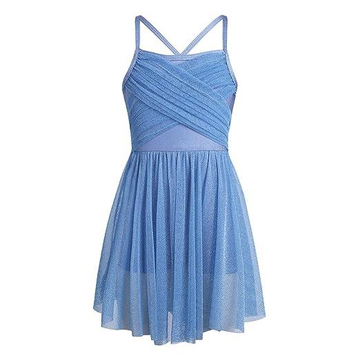 86017e1fb7eb inlzdz Girls Glittery Mesh Criss Cross Back Ballet Latin Gymnastics Leotard Dance  Lyrical Dress Light Blue