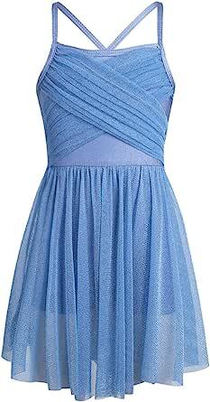 JEATHA Kids Girls Glittery Sleeveless Spaghetti Straps Criss Cross Back Latin Ballet Ballroom Dance Dress Dancewear