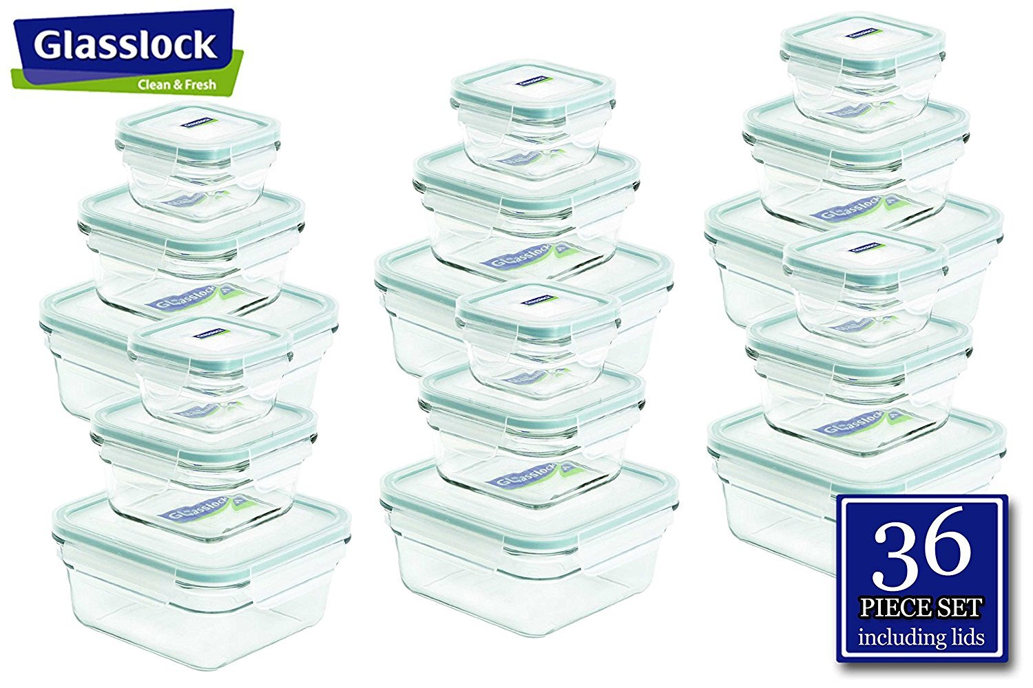 Snaplock Lid Tempered Glasslock Storage Containers 36pc set Square~Microwave & Oven Safe Spill Proof