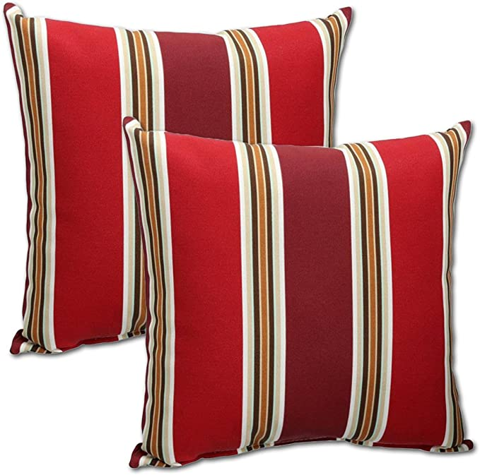 Comfort Classics Inc Set Of 2 Indoor Outdoor Throw Pillow 14 X 14 X 4 In Polyester Fabric Ruby Stripe Garden Outdoor