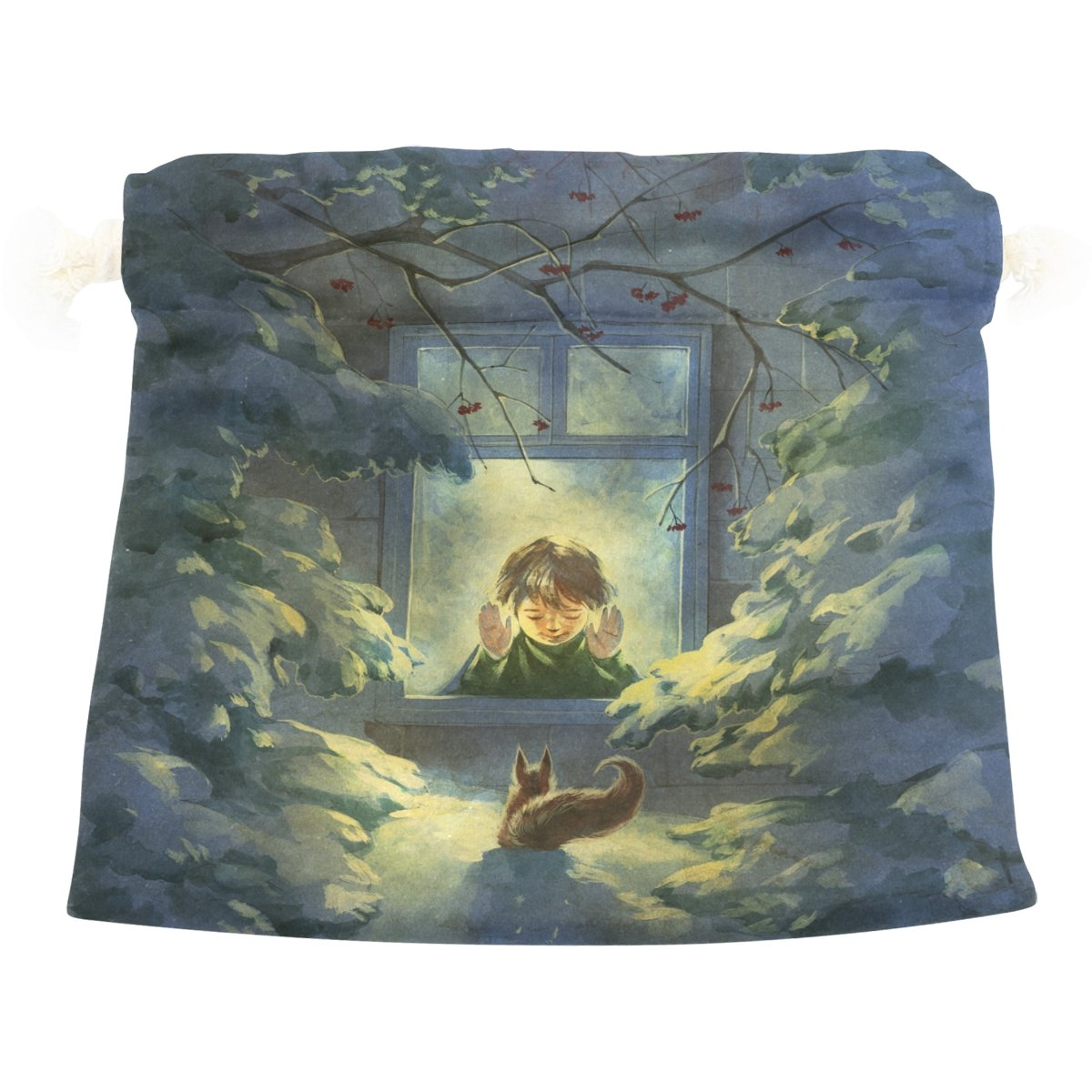 Dragon Sword Boy Looking Out Of Window At Squirrel Gift Bags Jewelry Drawstring Pouches for Wedding Party, 12x14 Inch