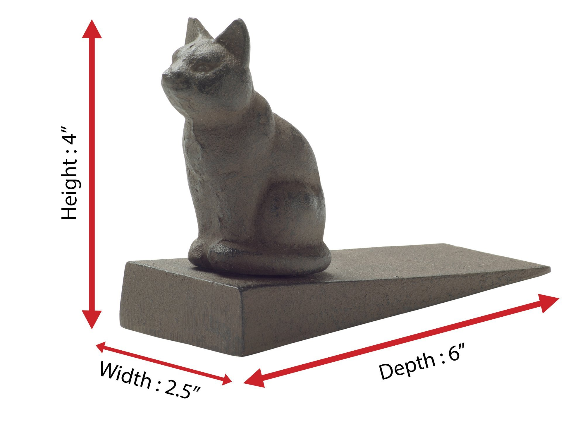 Comfify Vintage Cast Iron Cat Door Stop Wedge Lovely Decorative Finish, Padded Anti-Scratch Felt Bottom Protects Floors   in Rust Brown (Cat Door Stop CA-1507-12) by Comfify (Image #4)