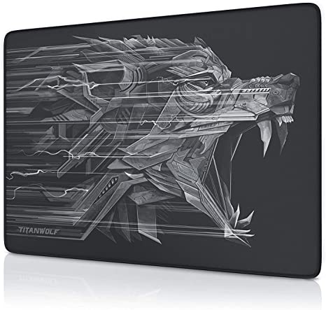 A FANG Large Gaming Mouse Mat Stitched Edges Non Slip Water Resistant Keyboard Pad Non Slip Rubber Base Smooth Surface Mouse Surface Improves Speed and Precision