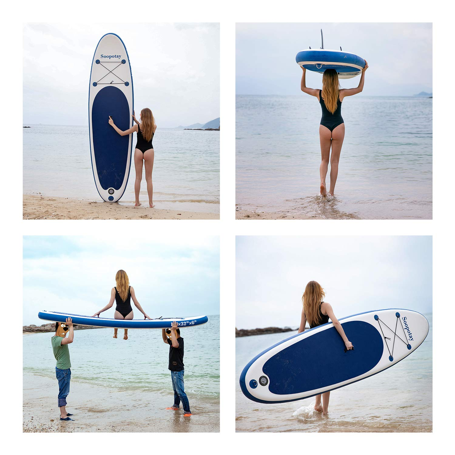 Inflatable SUP Stand Up Paddle Board, Inflatable SUP Board, iSUP Package with All Accessories (All Round Primary-Navy Blue-10' x 32'' x 6'') by Soopotay (Image #2)