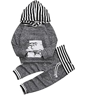 be26f46f9f6 Toddler Infant Baby Boys Dinosaur Long Sleeve Hoodie Tops Sweatsuit Pants  Outfit Set Gray